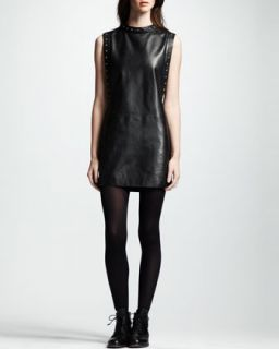 Womens Sleeveless Leather Dress, Noir   Saint Laurent   Nero (42/10)