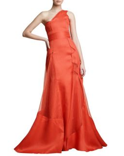 Womens One Shoulder Architectural Gown   Carolina Herrera   Reef red (14)