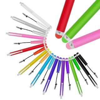 Chromo Inc. Bundle of 20 Vibrant Colorful Premium Stylus Universal Capacitive Touch Screen Pen for iPad 1 2 3 4 iPad Mini iPod iPhone 5 4 4S 3g 3gs Samsung Galaxy S4 S3 S2 Tab 8.9 10.1, Blackberry Z10 Q10 Playbook Google Nuxus + NEW Color Coded Matching Ti