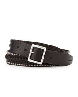 Mens Stud Trimmed Braided Leather Belt, Black   Dsquared2   Black (MEDIUM)