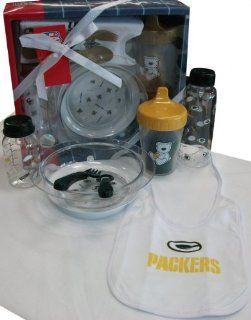 Green Bay Packers NFL Newborn / Infant / Baby 7 Piece Feeding Gift Set w/ Bottle & Bib  Infant And Toddler Sports Fan Apparel  Sports & Outdoors