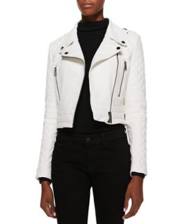 Womens Asymmetric Cropped Leather Moto Jacket   Andrew Marc x Richard Chai
