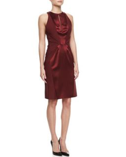 Womens Sleeveless Silk Sheath Dress, Merlot   J. Mendel   Merlot (8)
