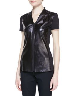 Womens Lambskin & Jersey Short Sleeve Blouse   Lafayette 148 New York   Black