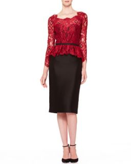 Womens Floral Lace Tie Back Dress, Red/Black   Carolina Herrera   Black/Red (8)