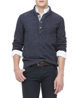 Mens Shawl Collar Sweater, Navy   Navy (X LARGE)