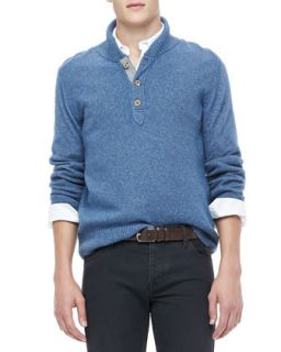Mens Shawl Collar Sweater, Blue   Blue (X LARGE)