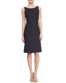 Womens Sleeveless Jersey Sheath Dress   J. Mendel   Navy (2)