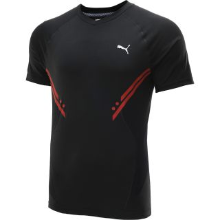 PUMA Mens PT Pure Tech 2 Short Sleeve V Neck T Shirt   Size Small, Black/red
