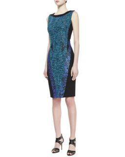 Womens Sleeveless Contrast Sheath Dress, Black/Aquamarine   Badgley Mischka