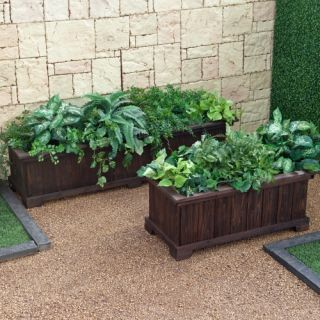 Coral Coast Rectangular Cedar Aster Patio Planter   Dark Brown Stained   Planters