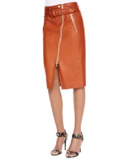 Womens Moto Leather Pencil Skirt, Rust   Jason Wu   Rust (6)