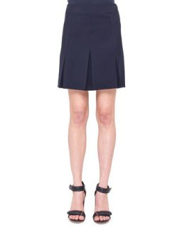 Womens Inverted Pleat Twill Skirt   Akris punto   Navy (40/10)