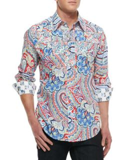 Mens Perfecto Paisley Sport Shirt, Light Blue   Robert Graham   Light blue (XL)