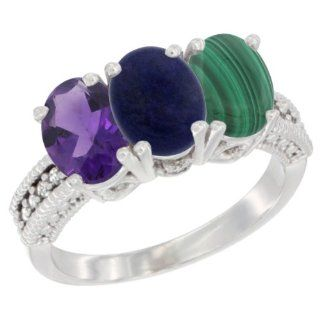 10K White Gold Natural Amethyst, Lapis & Malachite Ring 3 Stone Oval 7x5 mm Diamond Accent, sizes 5   10 Jewelry