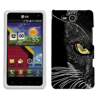 LG Lucid Black Cat Face Hard Case Phone Cover Cell Phones & Accessories