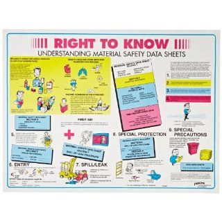 "Brady 53200 18"" Height, 24"" Width, Laminated Paper, Black, Red, Blue And Yellow On White Color Right To Know Poster English, Legend ""Right To Know Understanding Material Safety Data Sheets"" Industrial Warning Signs Industrial & Sc"