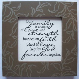 "Kindred Hearts Inspirational Quote Frame (6 x 6 Brown Leaf Pattern) (""Our family is a circle of love and strength, founded on faith, joined in love, kept by God forever together"")  Single Frames"