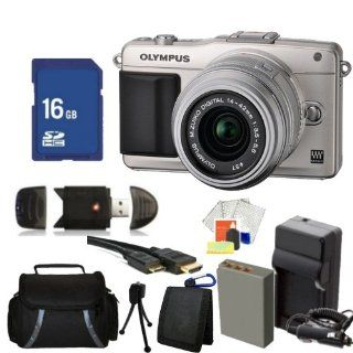 Olympus E PM2 Mirrorless Micro Four Thirds Digital Camera with 14 42mm f/3.5   5.6 II Lens (Silver) Kit. Includes 16GB Memory Card, High Speed Memory Card Reader, Extended Life Replacement Battery, AC/DC Rapid Travel Charger, Memory Card Wallet, Mini HDMI