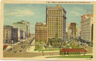 1940s Vintage Postcard   Public Square, looking east   Cleveland Ohio