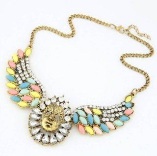 Vintage Egypt Bronze Mask Colorful Rhinestones Beads Wings Pendants Necklaces Love Freedom,100439 Baby