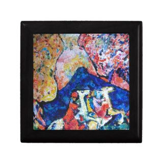 Wassily Kandinsky horse rider blue mountains Trinket Box