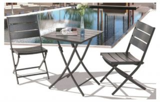 Royal Garden Aluminum Bistro Square Table Set   Black   Outdoor Bistro Sets