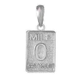 925 Sterling Silver Travel Necklace Charm Pendant, Mile Marker 0 Key West Jewelry