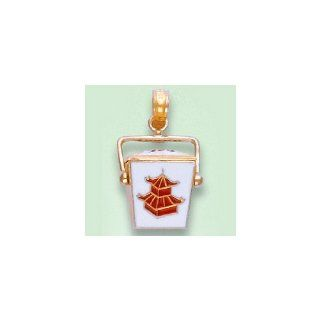 14k Gold Necklace Charm Pendant, 3d Novelty Chinese Take out Box Red & White Ena Million Charms Jewelry