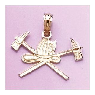 14k Gold Profession Necklace Charm Pendant, Fireman Firefighter Helmet & 2 Axes Jewelry