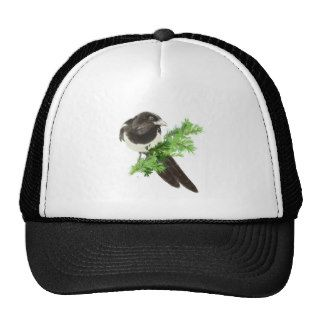 Custom Original Watercolor Magpie Pine Branch Trucker Hat