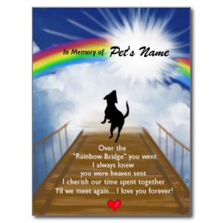 Rainbow Bridge Memorial Poem for Dogs Post Card
