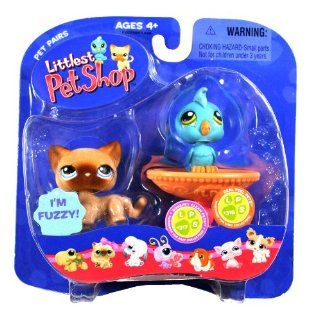 "Hasbro Year 2006 Littlest Pet Shop Pet Pairs ""Squeaky Clean Pet"" and ""Real Feel Pets"" Series Bobble Head Pet Figure Set   Fuzzy Brown Siamese Kitty Cat (#318) and Blue Cockatoo Bird (#317) with Bird Bath Fountain (63022) Toys & Gam"