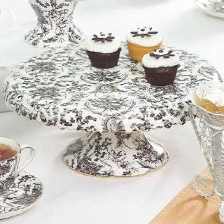 Black and White Cherub Toile Cake Stand Kitchen & Dining