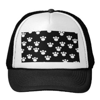 Black and White Animal Paw Print Pattern. Trucker Hats