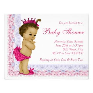 Sweet Baby Pink and Purple Baby Shower Custom Invitation