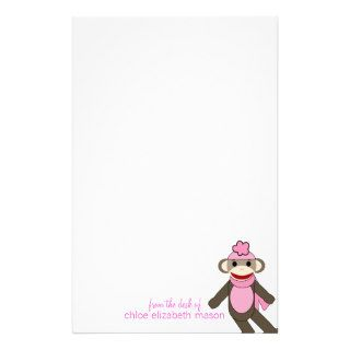 Super Cute Girly Girl Sock Monkey Stationery