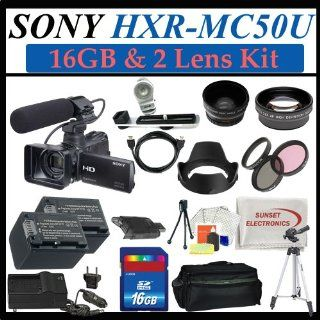 Sony Hxr mc50u Ultra Compact Pro Avchd Camcorder with 16gb Sdhc Memory, 2 Extra Replacement Batteries, 3 Extra Lens, Hdmi, Deluxe Soft Carrying Case, Aluminum Tripod & Much More  Professional Camcorders  Camera & Photo