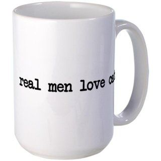Real Men Love Cats Large Mug Large Mug by  Kitchen & Dining