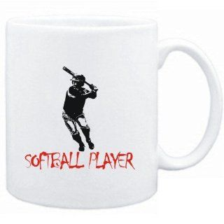 "Mug White "" Softball Player Silhouette"" Sports Sports & Outdoors"
