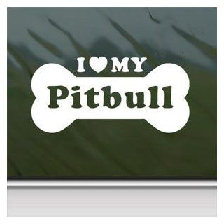 I Love My Pitbull White Sticker Car Vinyl Window Laptop White Decal   Wall Decor Stickers