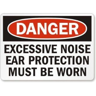 "SmartSign Aluminum OSHA Safety Sign, Legend ""Danger Excessive Noise Ear Protection Must Be Worn"", 7"" high x 10"" wide, Black/Red on White"