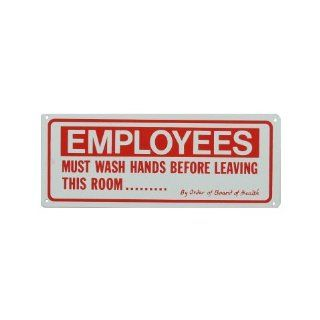 "10"" X 4"" Metal ""Employees Must Wash Hands"" Sign Industrial Warning Signs"