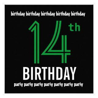 14th Birthday Party Modern Black and Color Number Custom Invitations