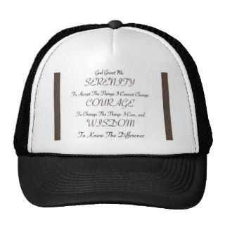 serenity prayer poem with metallic gold trim trucker hats