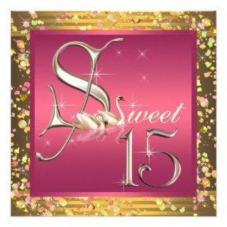 Pink and Orange Sweet Fifteen Quinceanera Party Custom Invitation