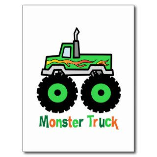 Green Monster Truck Post Cards