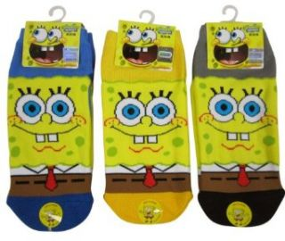 3 Pair Assorted Blue, Grey and Yellow Spongebob Squarepants Socks for Boys Other Socks Clothing