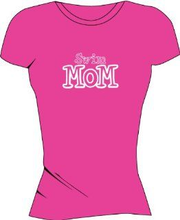 Swim Mom Women's Tech Shirts   Hot Pink   Large  Running Equipment  Sports & Outdoors