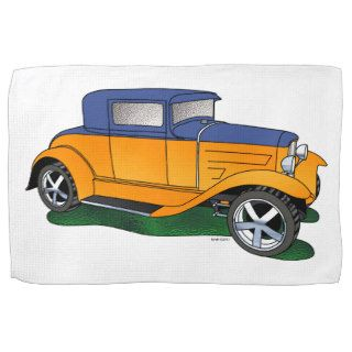 32 Ford 5 window Coupe Orange/blue Kitchen Towels